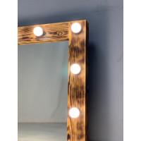 Настенное гримерное зеркало 90x70 цвета кофе с подсветкой 14 ламп по периметру