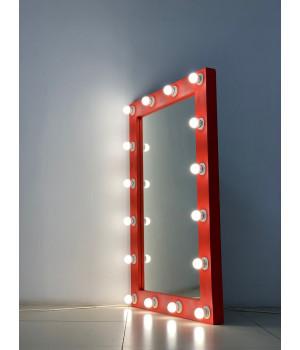 Настенное гримерное зеркало 120x80 красного цвета с подсветкой 16 ламп по контуру