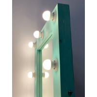 Гримерное зеркало 80x60 цвета Тиффани с подсветкой 12 ламп по контуру